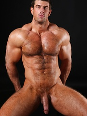 Zeb exposes his muscle hairy chest and big tool - Gay porn pics at GayStick.com