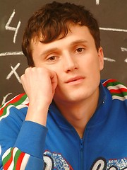 Boy model Dimax jerking off in the classroom