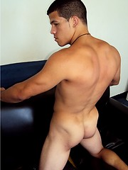 Muscled latino twink stripping and shows big cock - Gay porn pics at GayStick.com