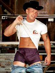 Muscled cowboy undress his clothes and show strong body - Gay porn pics at GayStick.com