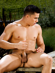 Hot brunette stud posing at the nature - Gay porn pics at Gaystick