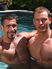 Hot muscle men fucking in a pool