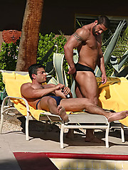 Two muscled hunks have real hot anal sex at the backyard