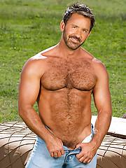 Furry cowboy daddy posing at the rancho