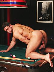 Beefy hunks playin at the pool table - Gay porn pics at GayStick.com