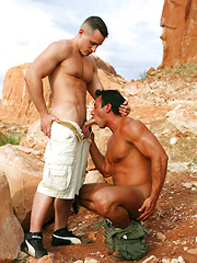 Bronzed dudes fuck each other at sunny desert - Gay porn pics at GayStick.com