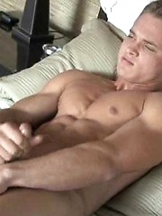 Sexy college dude jerking at sunny morning - Gay porn pics at GayStick.com