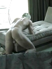 Sexy white-haired jock stroking dick - Gay porn pics at GayStick.com