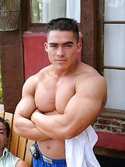Manuel Melia posing at the wild jungle - Gay porn pics at GayStick.com