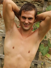 Marco Sun strips naked outside and masturbates. - Gay porn pics at GayStick.com