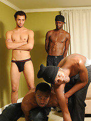 Horny black studs fucking after Twister game