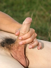 Nice gay boy jerking off on the nature - Gay porn pics at GayStick.com