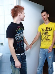 Cute twinks doing it in the bathroom