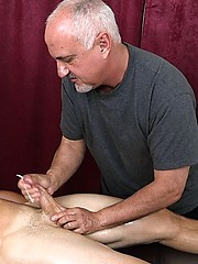 Bronzed surfer Christian Kennedy in massage session from older Jake - Gay porn pics at Gaystick