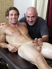 Bronzed surfer Christian Kennedy in massage session from older Jake - Gay porn pics at GayStick.com