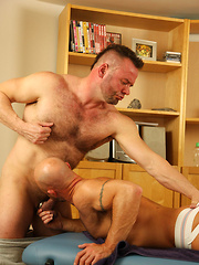 The masseur bangs his hard dick into the lad and takes his massage to another level - Gay porn pics at GayStick.com