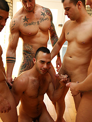 Birthday sperm bukkake for horny gay Pablo Nunez