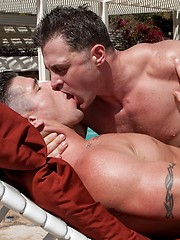 Trenton Ducati bangs Brenden Cage near the outside pool - Gay porn pics at GayStick.com