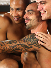 Issac and Lucas take turns to suck Drews mighty length  - Gay porn pics at GayStick.com