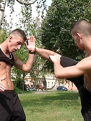 Young handsome twins posing outdoor - Gay porn pics at Gaystick