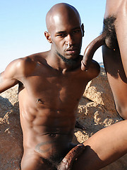 Ebony monsters Black Rod and Pleasure Boi in outdoor scene - Gay porn pics at GayStick.com