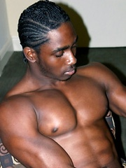 Well-muscled black hung jerks off - Gay porn pics at GayStick.com
