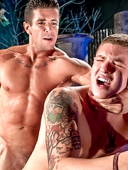 James wearing in jockstrap presents his ass for Trenton - Gay porn pics at GayStick.com