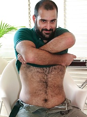 Italian bear Urs Milano shows off his sexy hairy chest and furry hole in this red hot Spanish photo shoot - Gay porn pics at GayStick.com