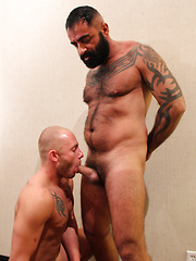 Hairy and tattooed Tom Colt walks in Preston Johnson - Gay porn pics at GayStick.com