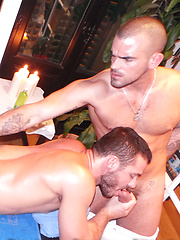 Two gay pornstars Damien Crosse and Jessy Ares