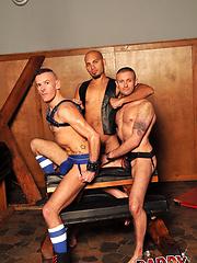 Dungeon Threesome: Antonio Biaggi, Dick Disco, Drew Driver - Gay porn pics at GayStick.com