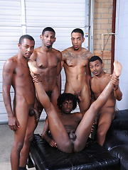 The pile of ebony thugz writhes with pleasure as asses are fucked and cocks are sucked - Gay porn pics at GayStick.com