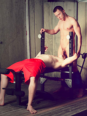 The two are working out in a home gym on Fire Island and soon cant keep their hands off each over - Gay porn pics at GayStick.com