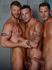 In this scene, Tate Ryder, Jeremy Stevens and Sean Duran have an intense three-way - Gay porn pics at GayStick.com