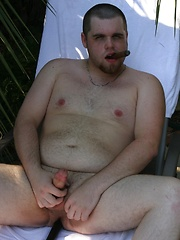 Beefy Bryce fires off a hot load of jizz across his belly - Gay porn pics at GayStick.com