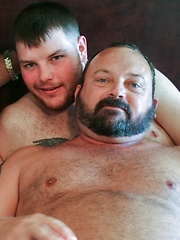 Four diverse bears take each other on at a wet and sweaty pump and cum dump - Gay porn pics at GayStick.com