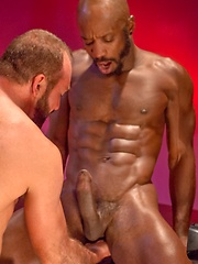 Bald ebony gay fisted by white bearded man