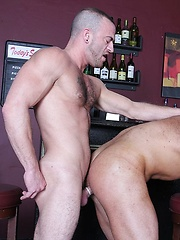 Steve Vex and Darius Soli take a quick shot at the bar and begin to make out - Gay porn pics at GayStick.com