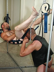 Tyler has his sling rigged up because he plans on just crushing Buck Ryder meaty asshole - Gay porn pics at GayStick.com