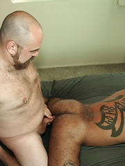DJ pushes Rico down on the bed and fingers his hole with his meaty digits - Gay porn pics at GayStick.com