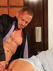 Sexy, beefy muscled bareback daddy, Kyle Savage, paired with greedy, cock hungry bottom whore apprentice, Preston Johnson - Gay porn pics at GayStick.com