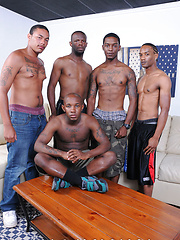 The thugs start off by reminiscing how long they been sucking dick for Thug Orgy - Gay porn pics at GayStick.com