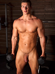 Beefy guy Cameron in the gym - Gay porn pics at GayStick.com