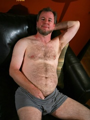 David furry chest and sexy round belly will have you strokin' your hard cock while you watch him stroke his - Gay porn pics at GayStick.com