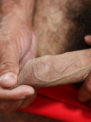 Hairy Latin bear Marco Rios loves anything hot and spicy to heat him up and make him sweat - Gay porn pics at GayStick.com