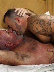Furry and thick bears Steve King and Jake Shores spend a hot southern day inside working up