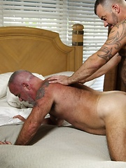 Furry and thick bears Steve King and Jake Shores spend a hot southern day inside working up - Gay porn pics at GayStick.com