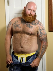 Sexy ginger bear Rusty G is back with a full beard and full on hot sticky cum - Gay porn pics at GayStick.com