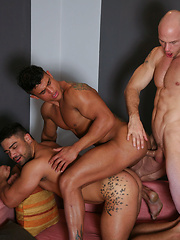 White guy fucks two tanned bodies - Gay porn pics at GayStick.com