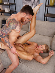 Clothes get ripped off and Levi goes down on Jordan - Gay porn pics at GayStick.com